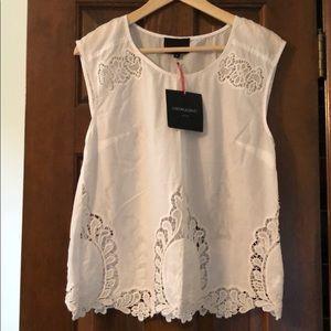 Cynthia Rowley white cotton sleeveless shirt